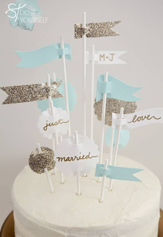 wedding flag cake toppers