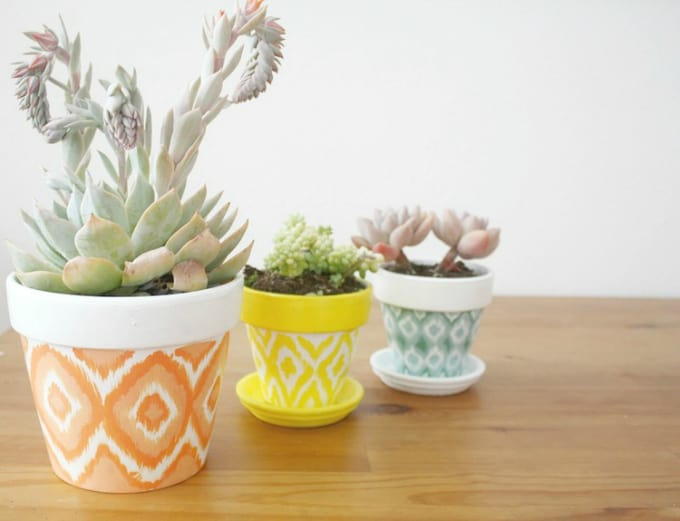 hand painted ikat pots