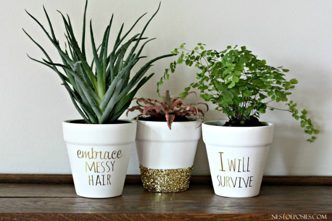 gold foil lettering on flower pots
