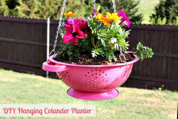 diy hanging colander planter