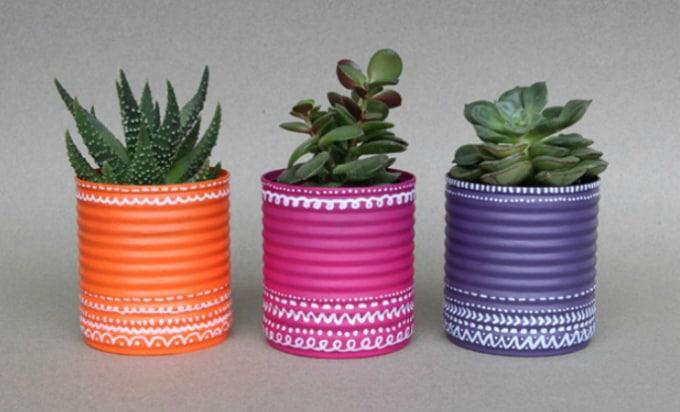 recycler boites de conserve pots de fleurs