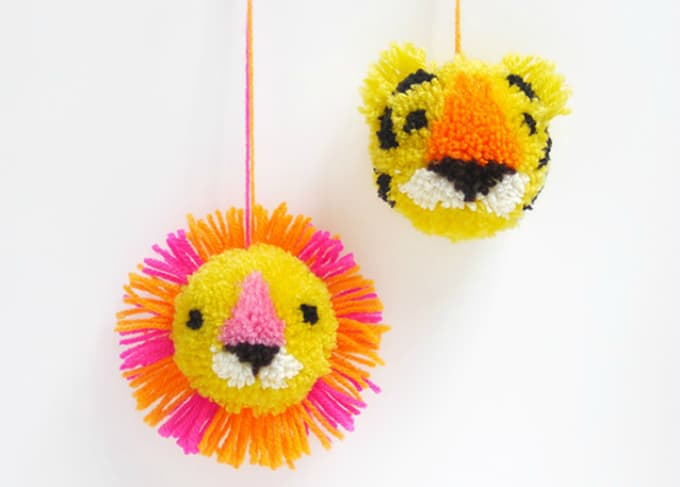 animal face pom poms