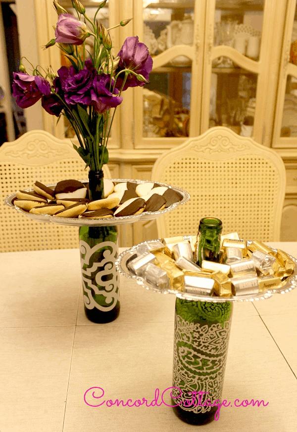 upcycled wine bottle tray holders