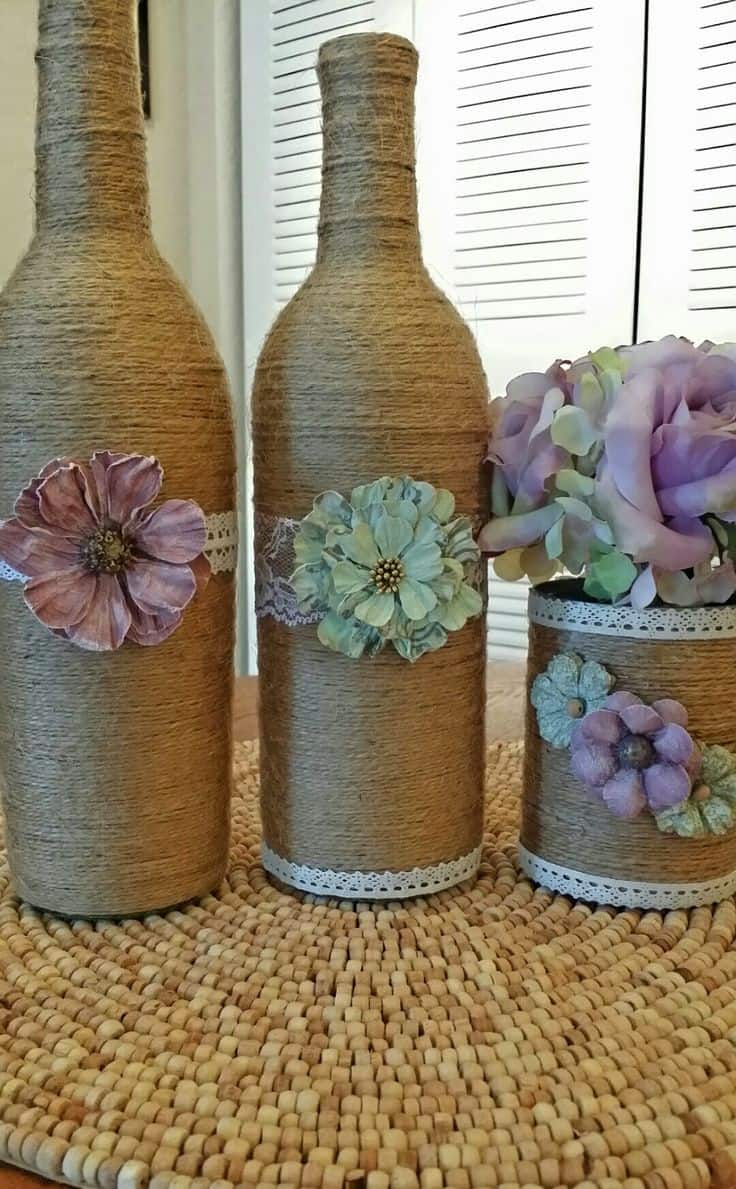 upcycled twine-wrapped wine bottles