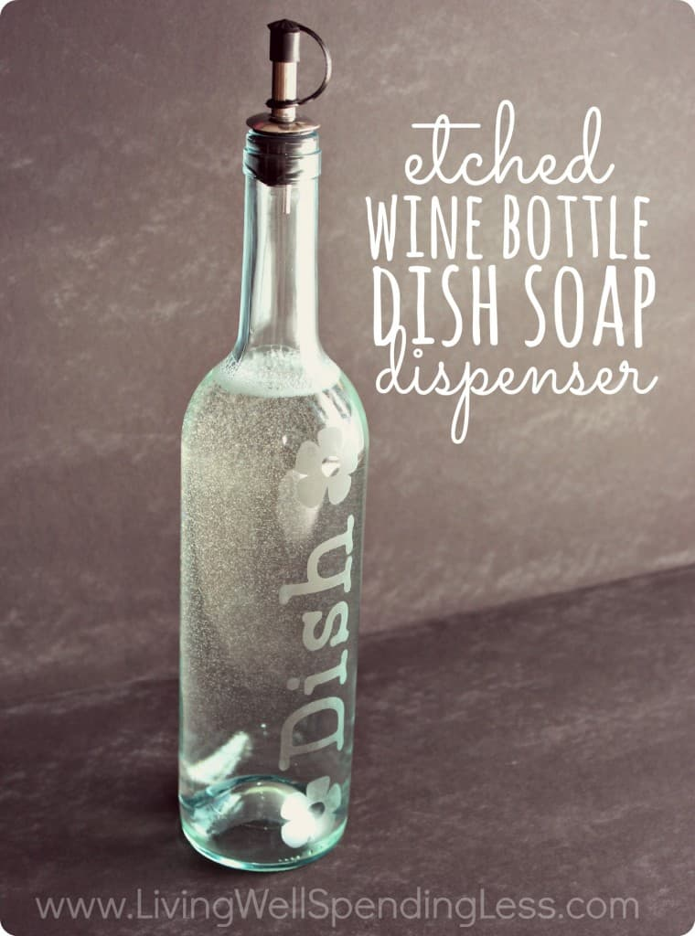 etched wine bottle dish soap dispenser