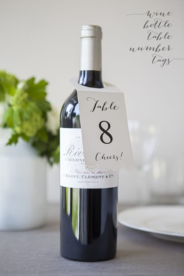 wine bottle Table Number tags