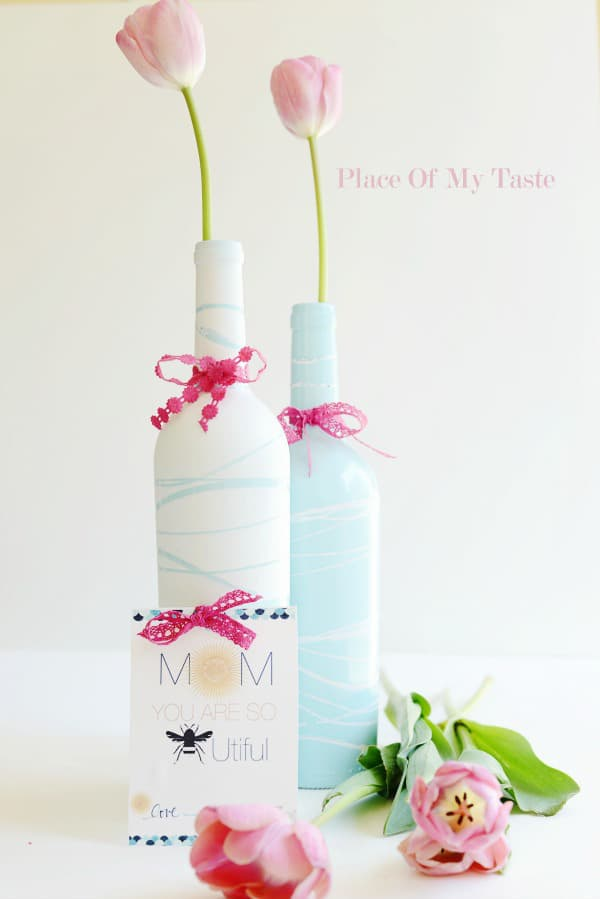 upcycled wine bottle vases