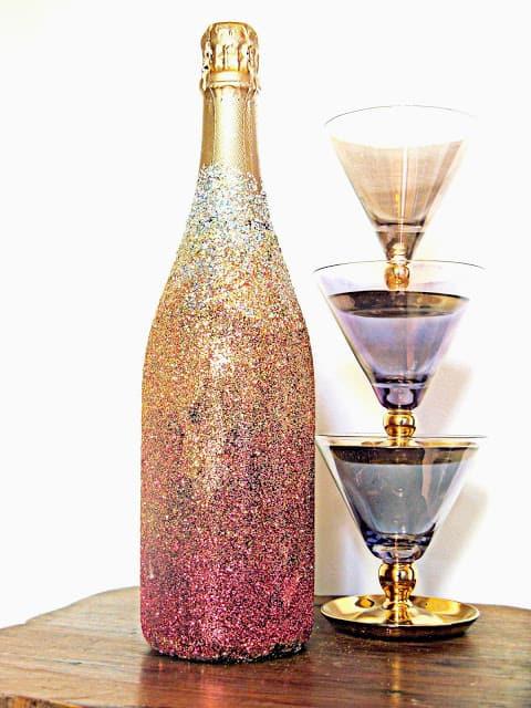 Ombre glitter champagne Bottle