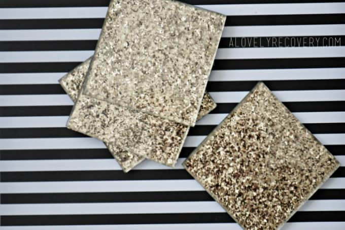 glitter-covered coasters
