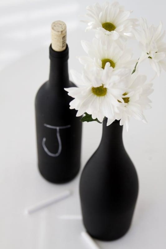 Chalkboard painted wine bottles