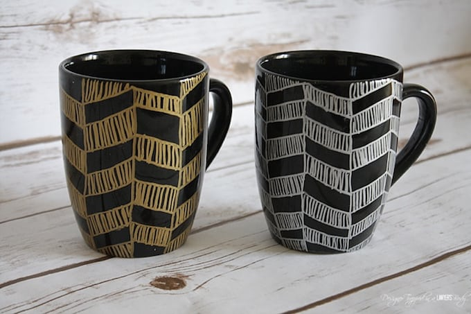 chevron pattern sharpie mugs