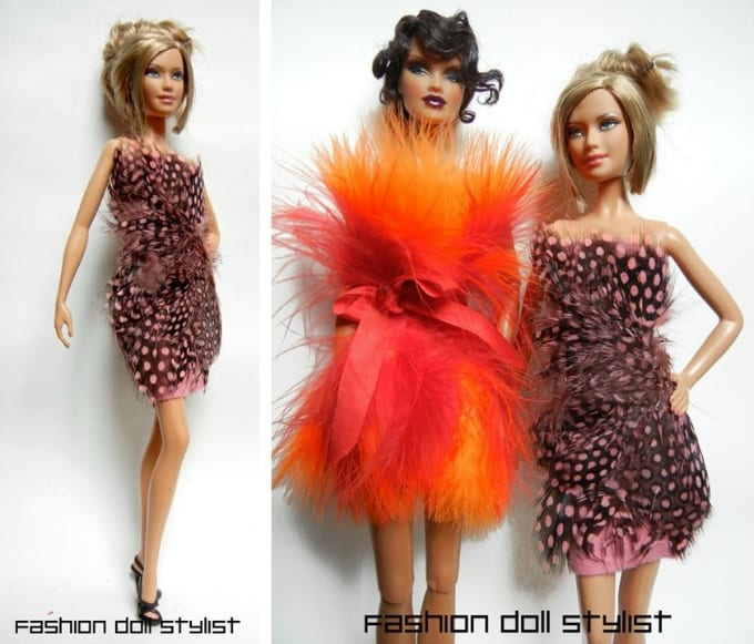 feathered doll dresses