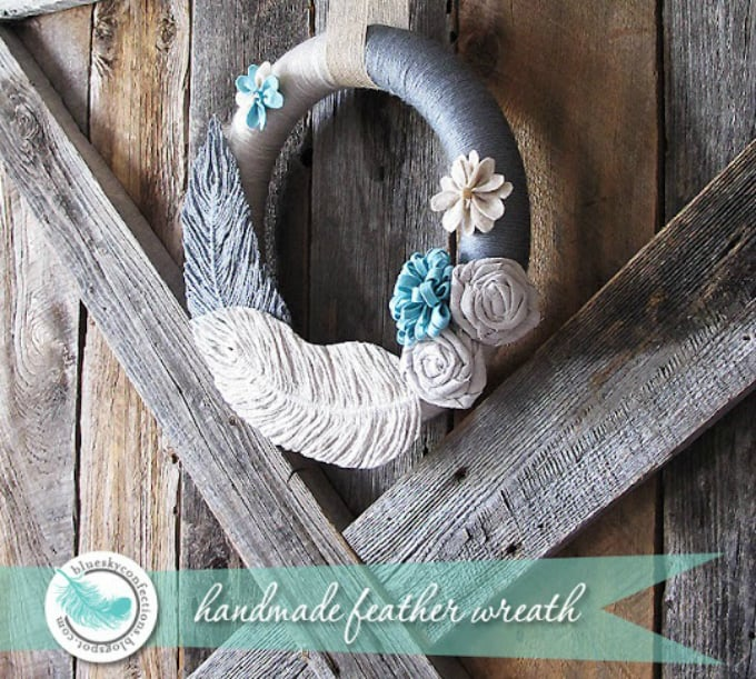 handmade feather wreath