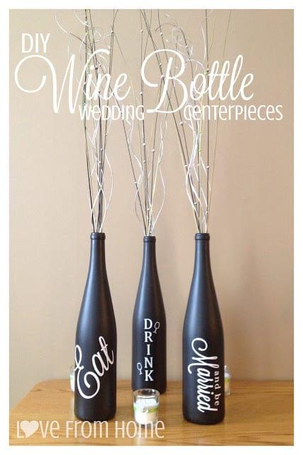 diy wine bottle Wedding Centerpiece