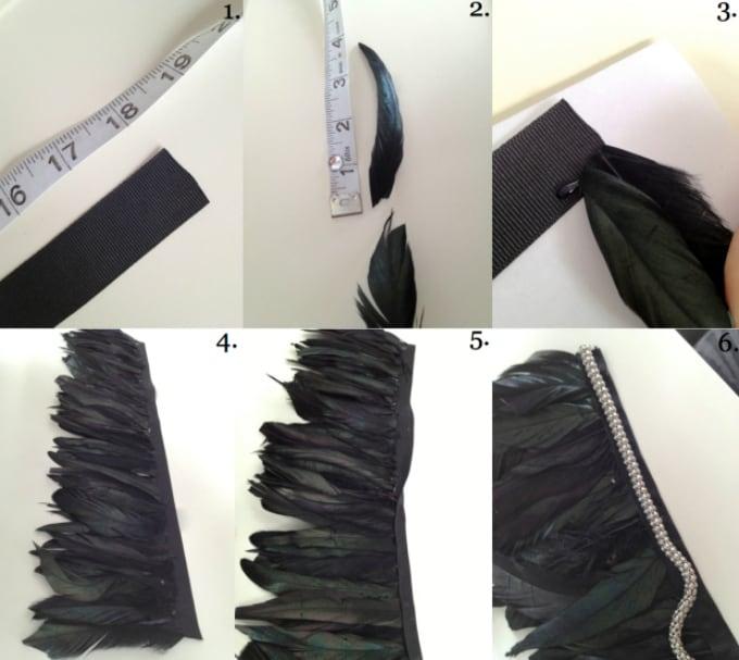 feather trim collar necklace