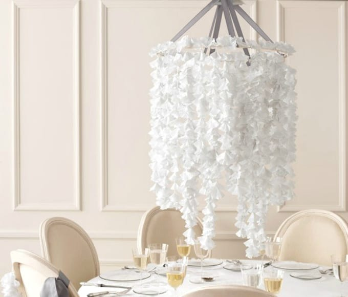 paper doily hanging chandelier