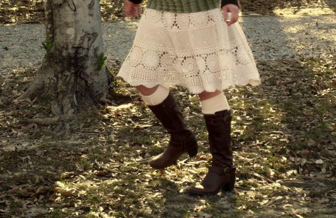 doily tablecloth skirt