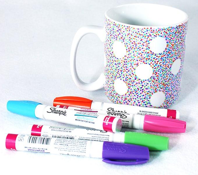 polka dot sharpie mug