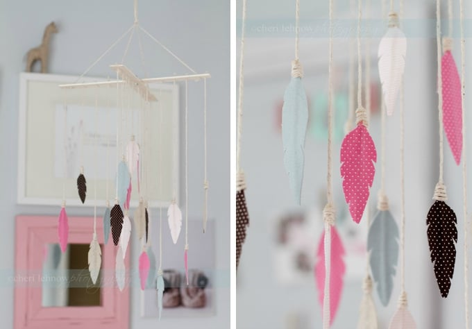 whimsical hanging feather mobile