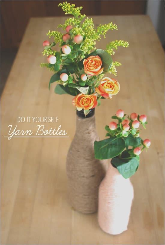 wine bottle Yarn Wrapped Vases