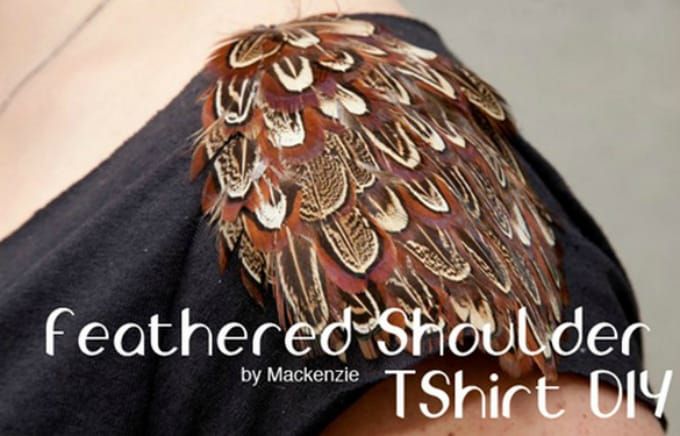 feathered shoulder t-shirt
