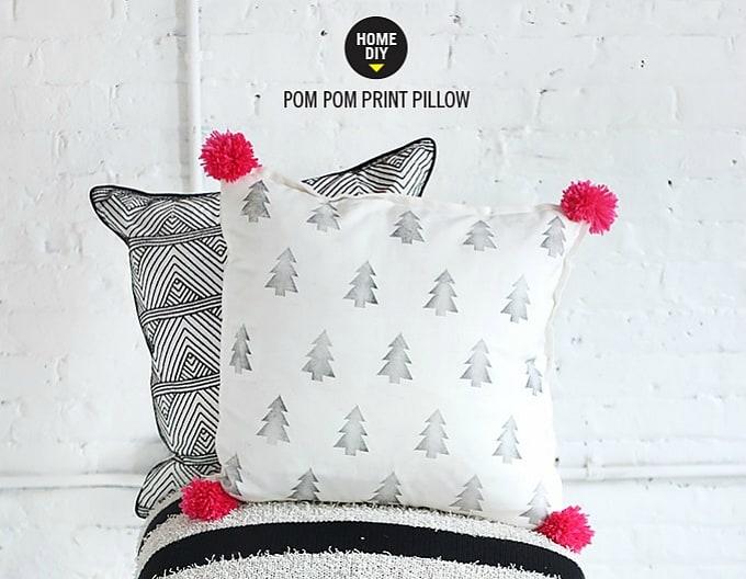 pom pom print pillow