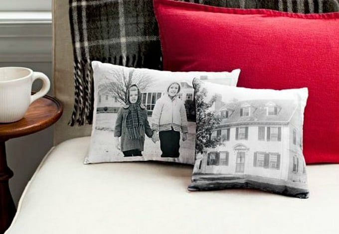 family photos onto cushion covers