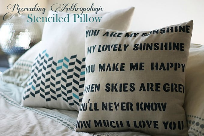Anthropologie stenciled pillow