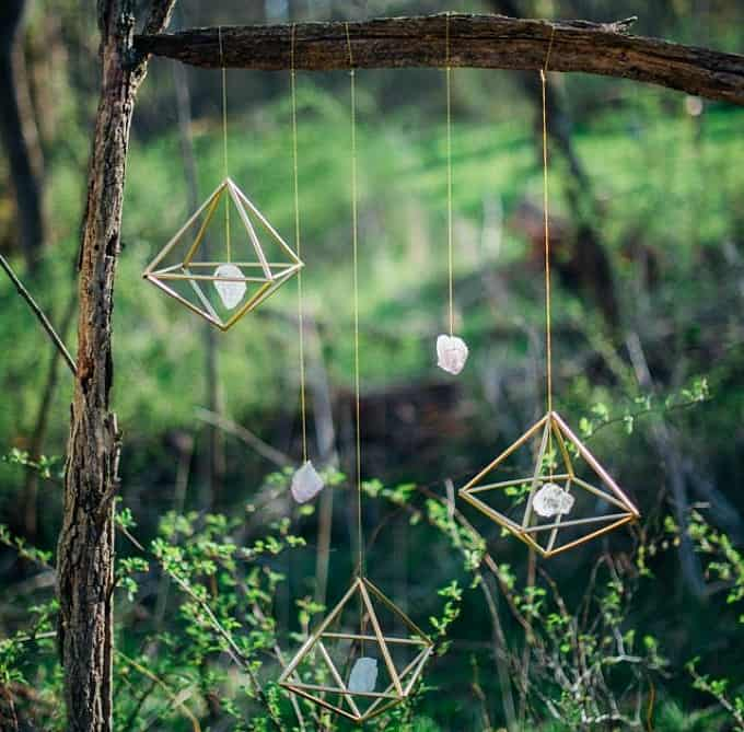 bohemian gemstone wedding decor