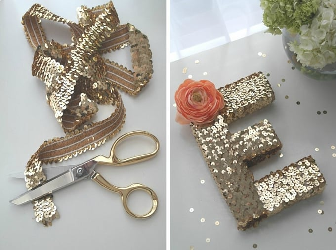 gold sequin adorned monograms