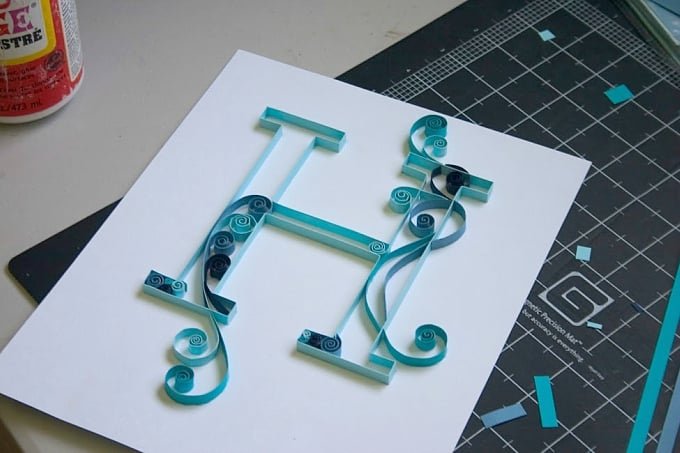 quilled monogram letter