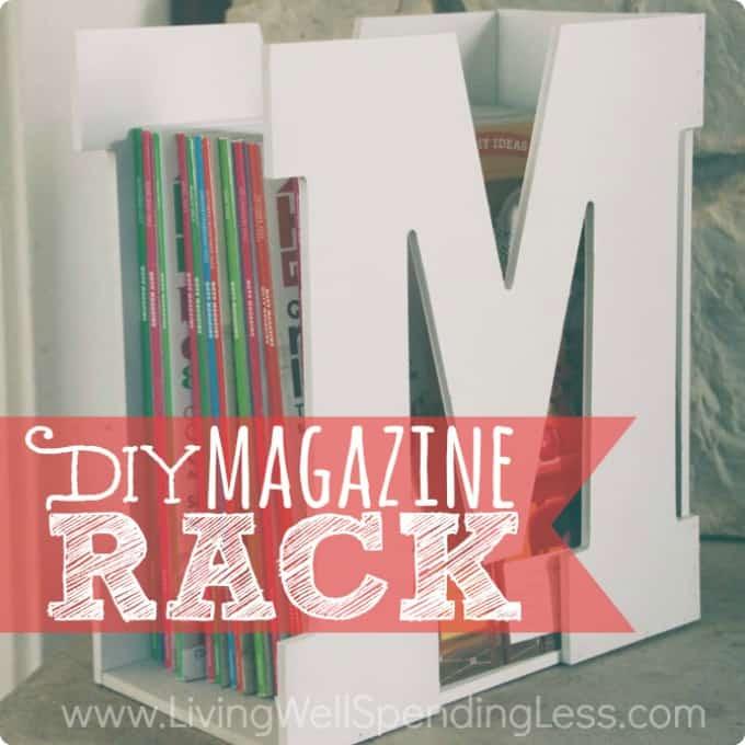 monogram lettering magazine rack
