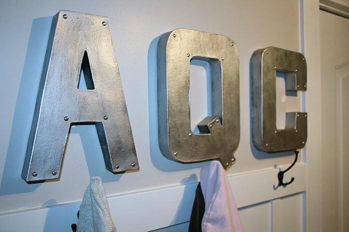 DIY industrial monogrammed letters