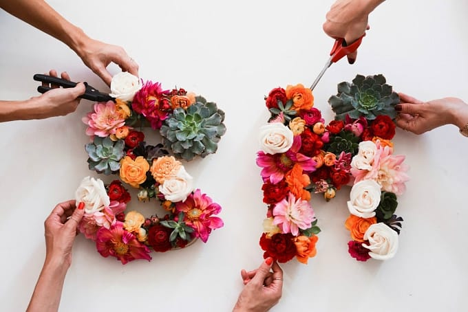 floral flowers monogram letters
