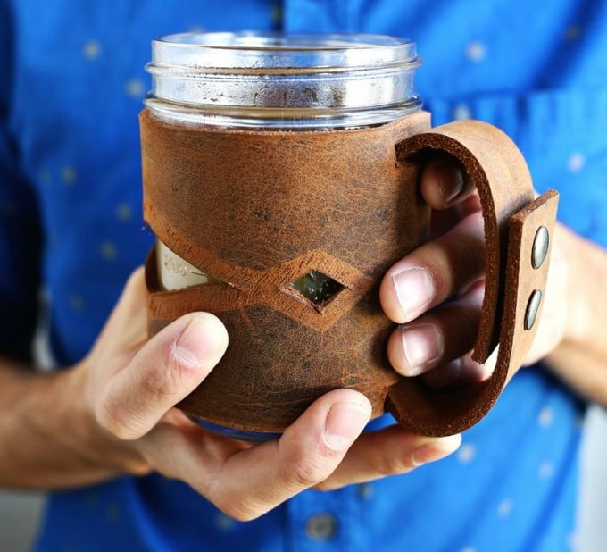 leather mason jar slleve