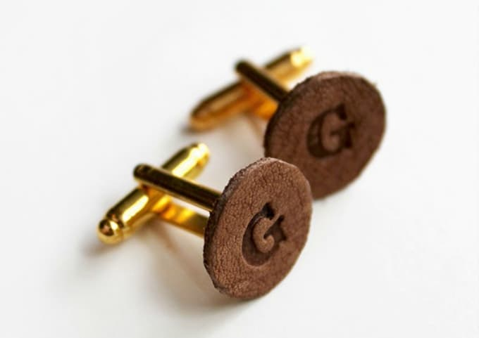 leather monogram cuff links