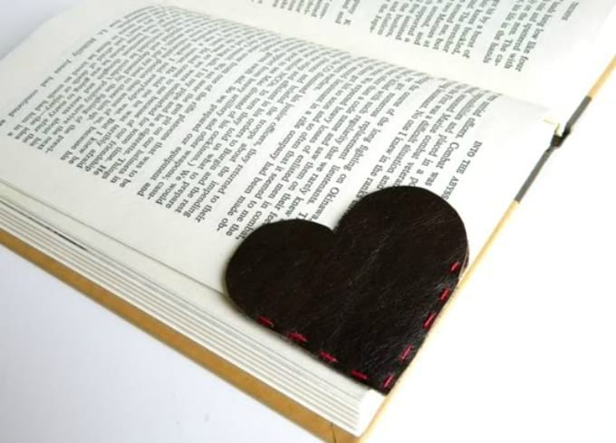 heart-shaped leather bookmark