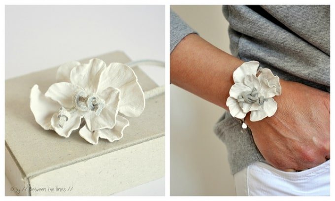 leather flower power bracelet