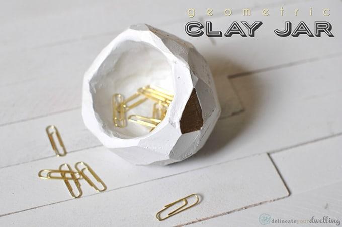 geometric clay jar
