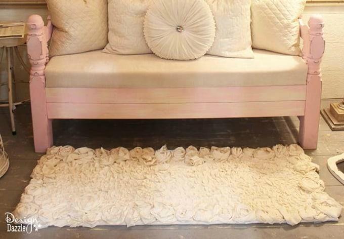 rosette fabric rug
