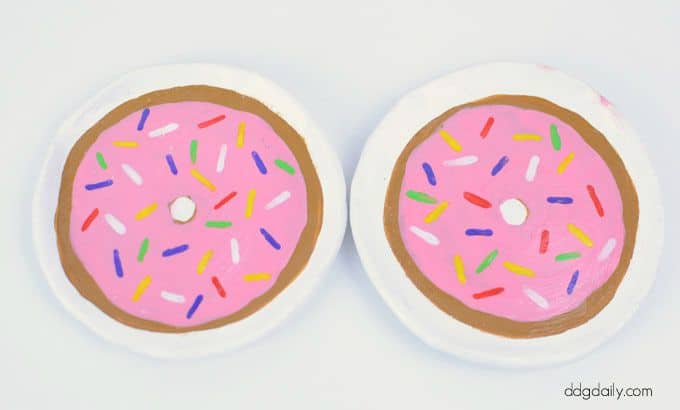 doughnut painted clay trinket