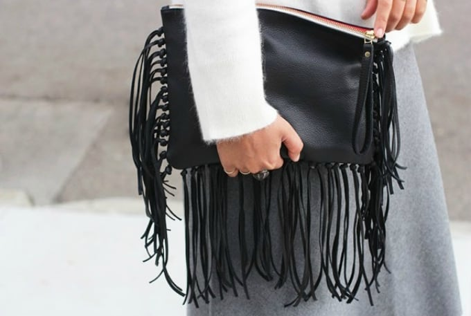 diy leather fringe clutch