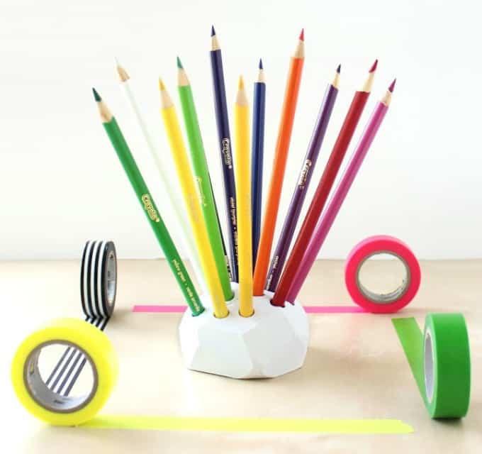 geometric color pencil holder
