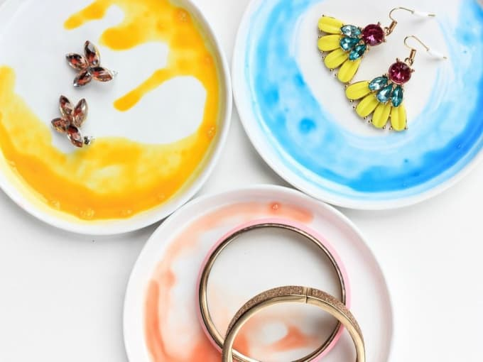 diy watercolor clay dishes