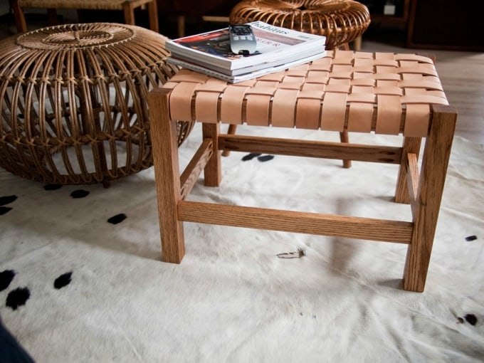 woven leather table