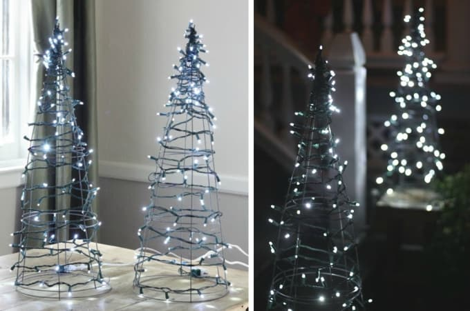 tomato cage christmas tree lights