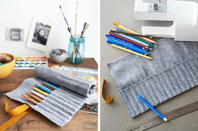 roll-up felt pencil holder