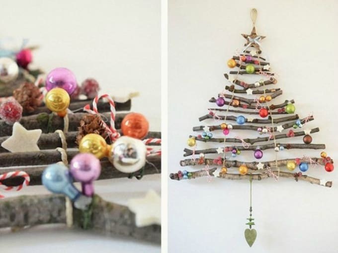 Christmas tree made out of twigs