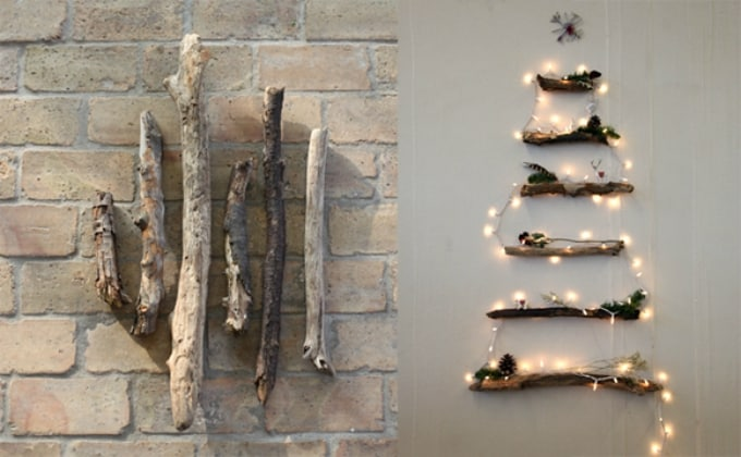 christmas tree made from sticks