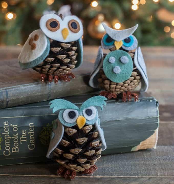 felt pinecone owl ornament